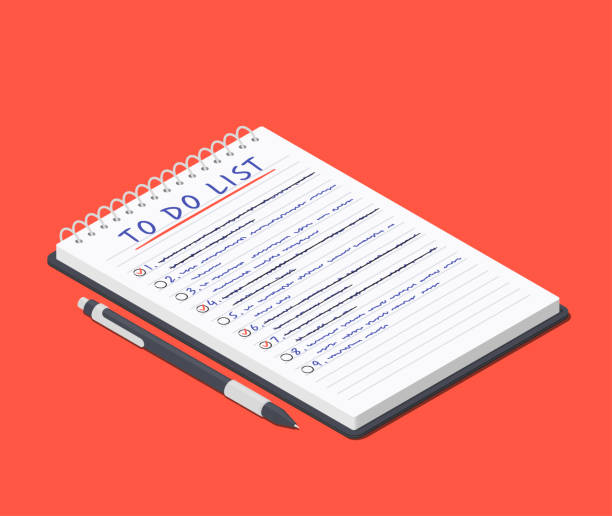 illustrazioni stock, clip art, cartoni animati e icone di tendenza di da fare elenco sul blocco note e penna sdraiati nelle vicinanze. illustrazione vettoriale isometrica - to do list
