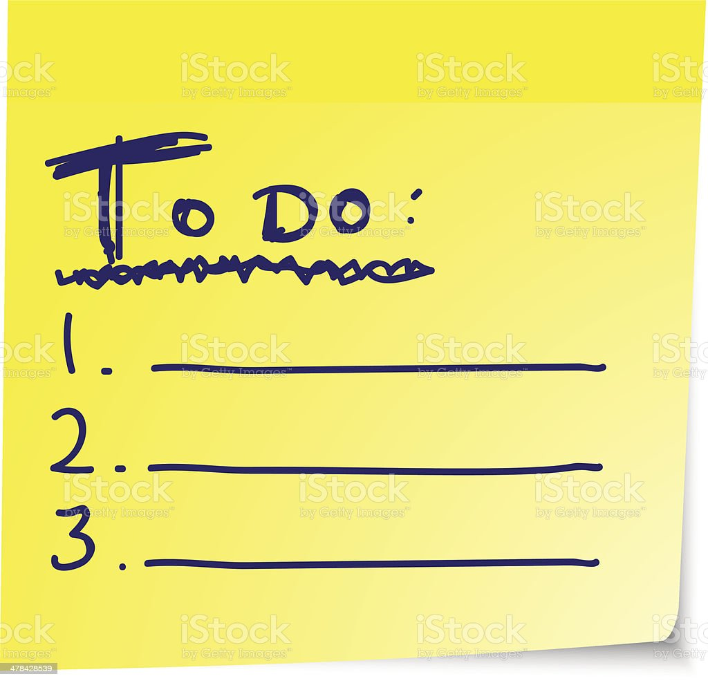 To do list on yellow sticky paper vector art illustration