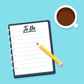Blank To Do list, notebook with pencil and coffee cup, top view. Business planner vector illustration in modern flat cartoon style.