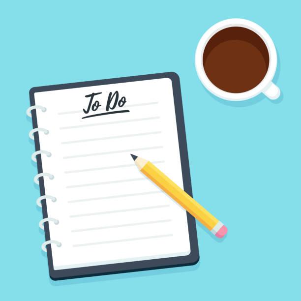 lista zadań do wykonania - notes stock illustrations