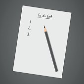 To do list, white notebook with pencil, diary, check list, task list, vector illustration