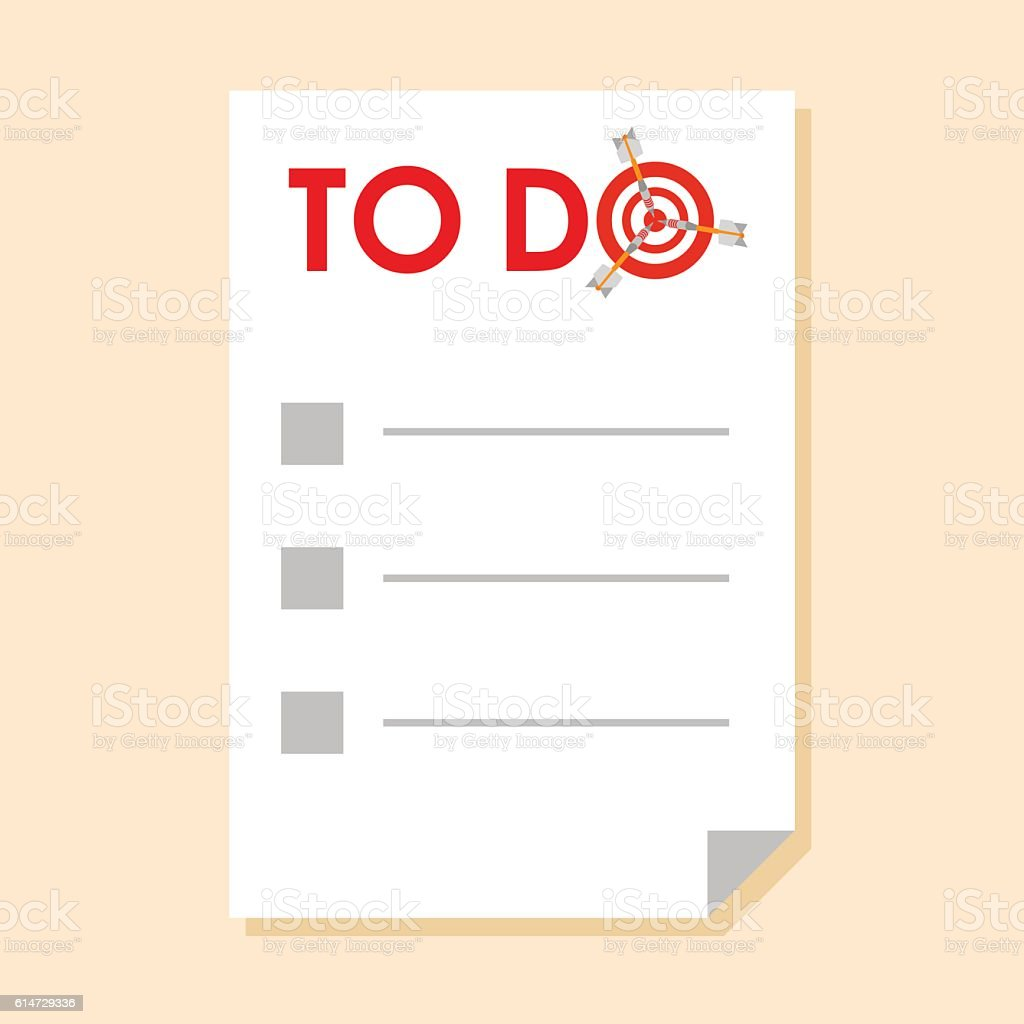To do list with dart instead of letter 'O' vector art illustration