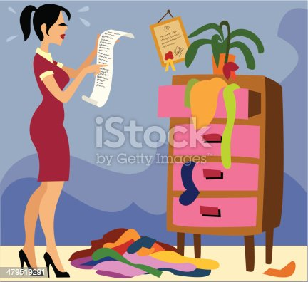 Stressed woman standing in a messy room with a long to-do list.