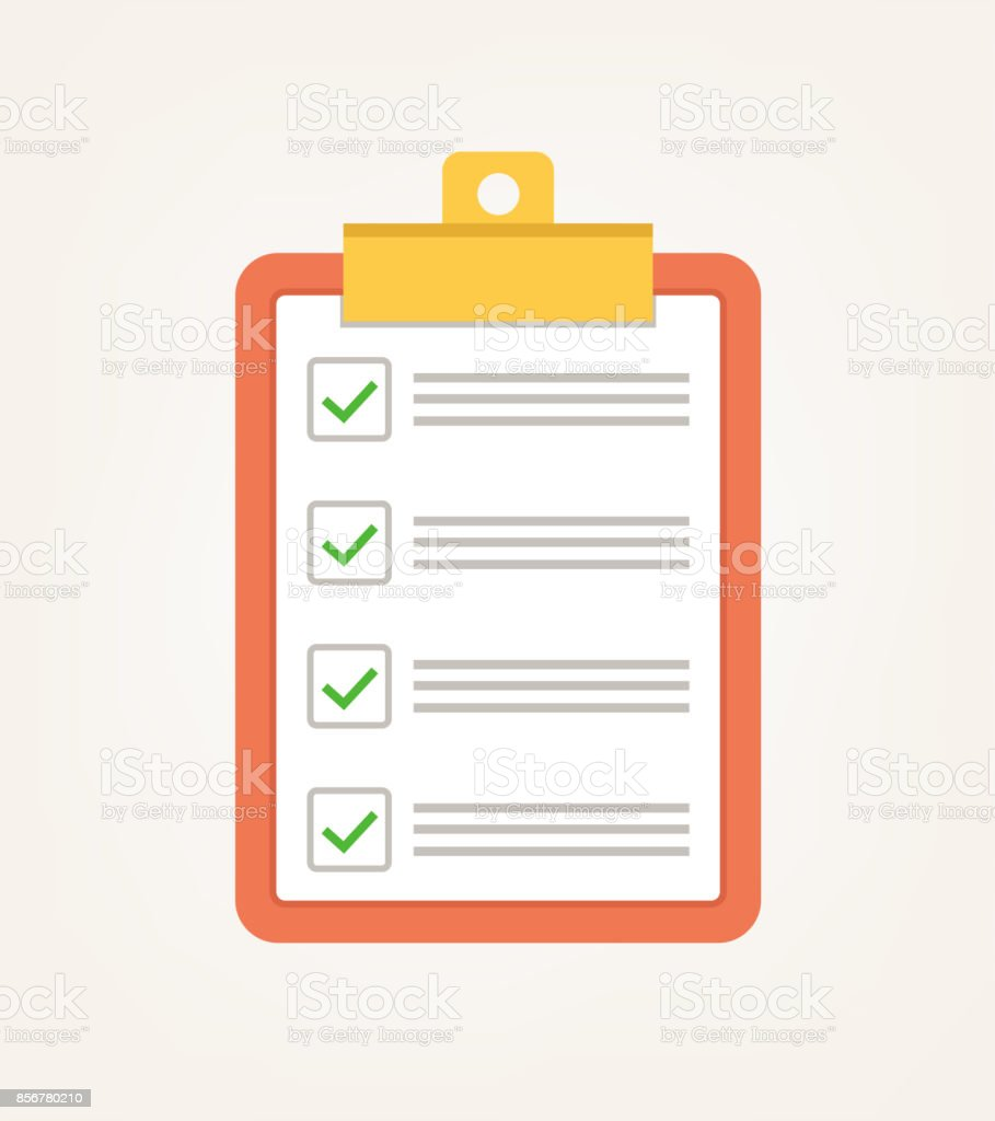 To do voting check list with green tick vector art illustration