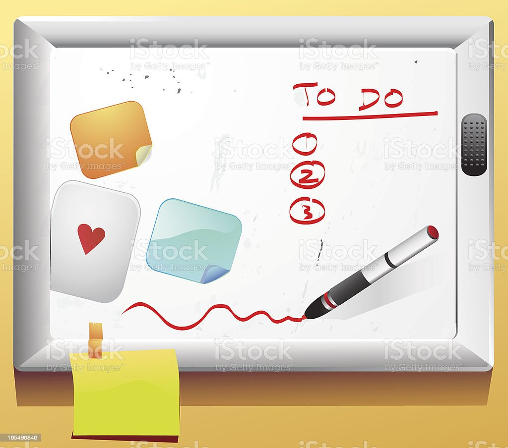 To Do White Board, Paper Sticky Notes vector art illustration