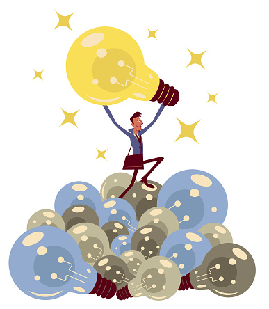 To find the right business idea when starting a business, a businessman finding a Big Idea and eliminating a heap of outdated ideas (light bulbs)