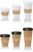 Take out Coffee or hot drink cups. Venti, Grande or Tall.  All white cups and brown cups with black lids. Hand protectors included.  Logical groups.