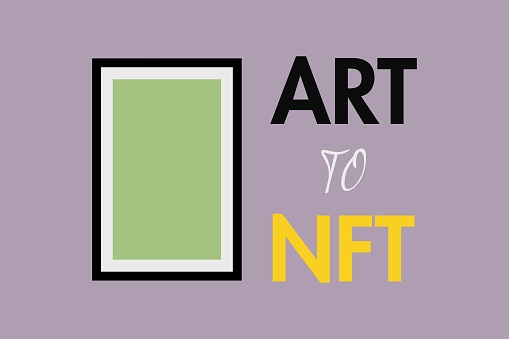ART to NFT, non-fungible token. Art frame. For Cryptocurrency news, banner, and t-shirt.