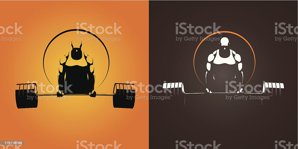 To reversed color images of weight lifter vector art illustration