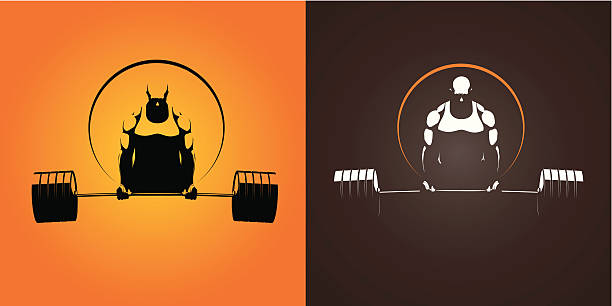 to reversed color images of weight lifter - weightlifting stock illustrations, clip art, cartoons, & icons