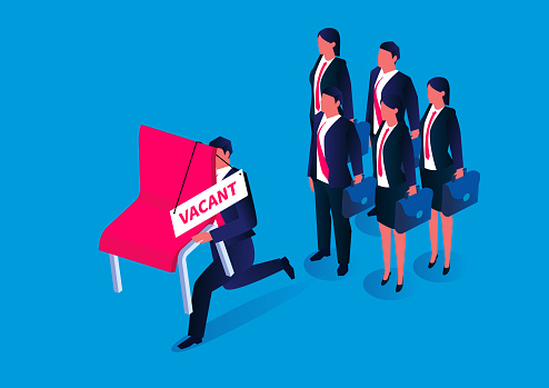 To seize the opportunity, the isometric businessman takes the lead to grab the vacant chair and ran away, recruitment and competition