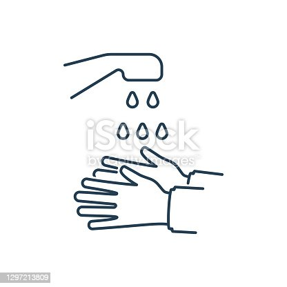 istock To wash hands black line icon vector 1297213809