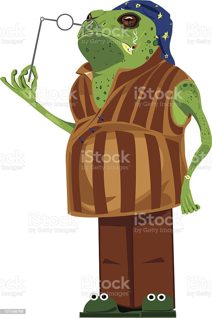 toad is in a night-dress royalty-free stock vector art