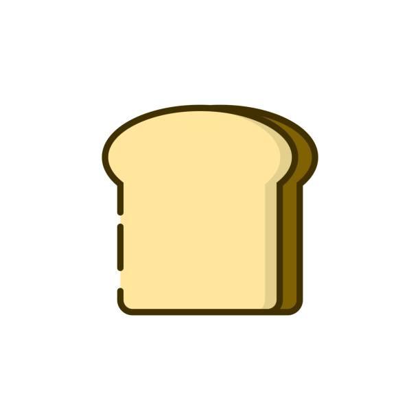烤麵包顏色輪廓圖示向量藝術插圖