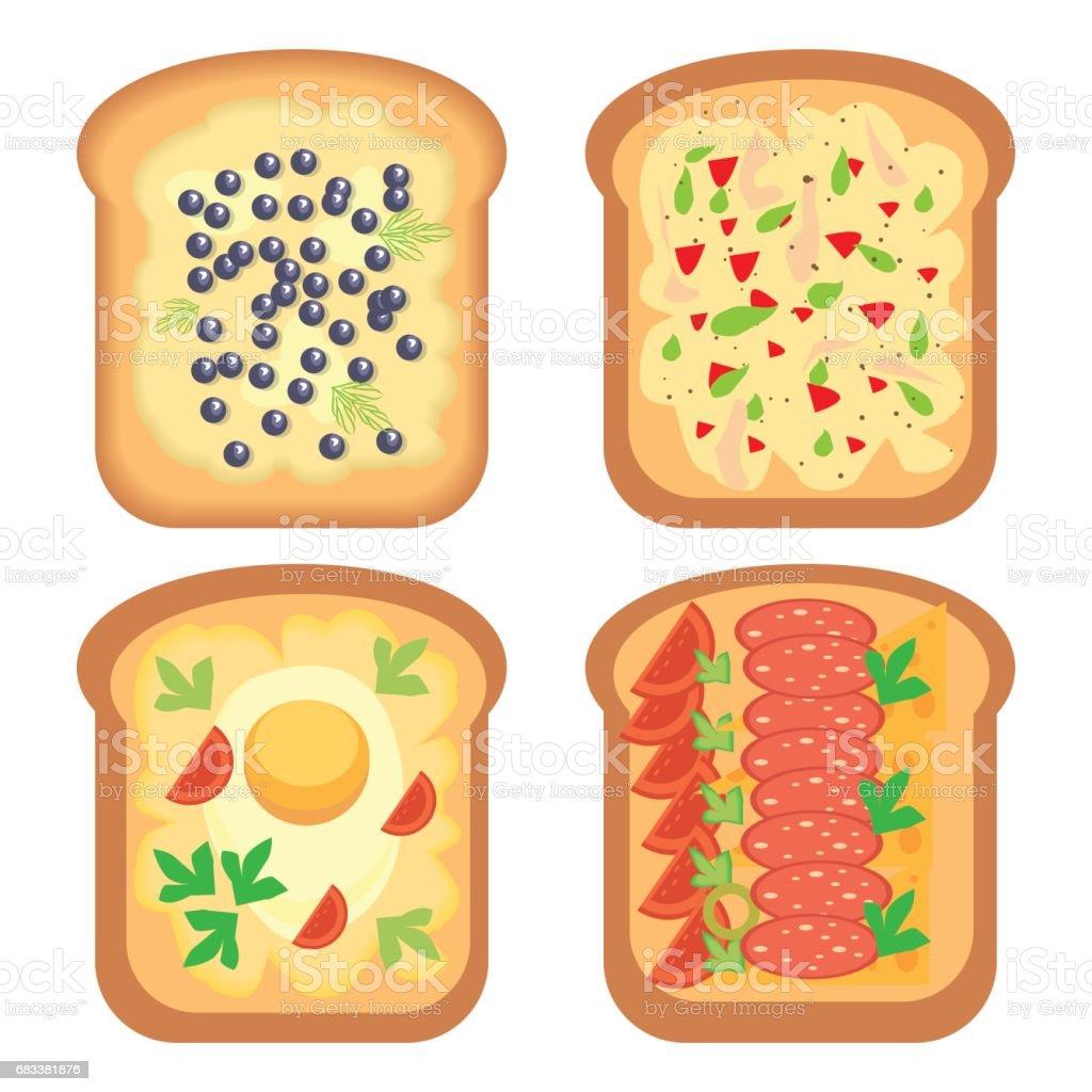 Toast bread meal snack lunch sandwich vector illustration vector art illustration