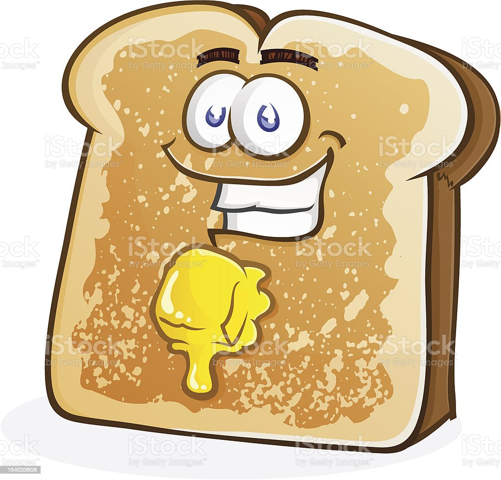 Toast Character with Butter vector art illustration