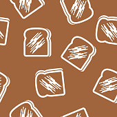 Vector illustration of toast in a repeating pattern against a brown background.