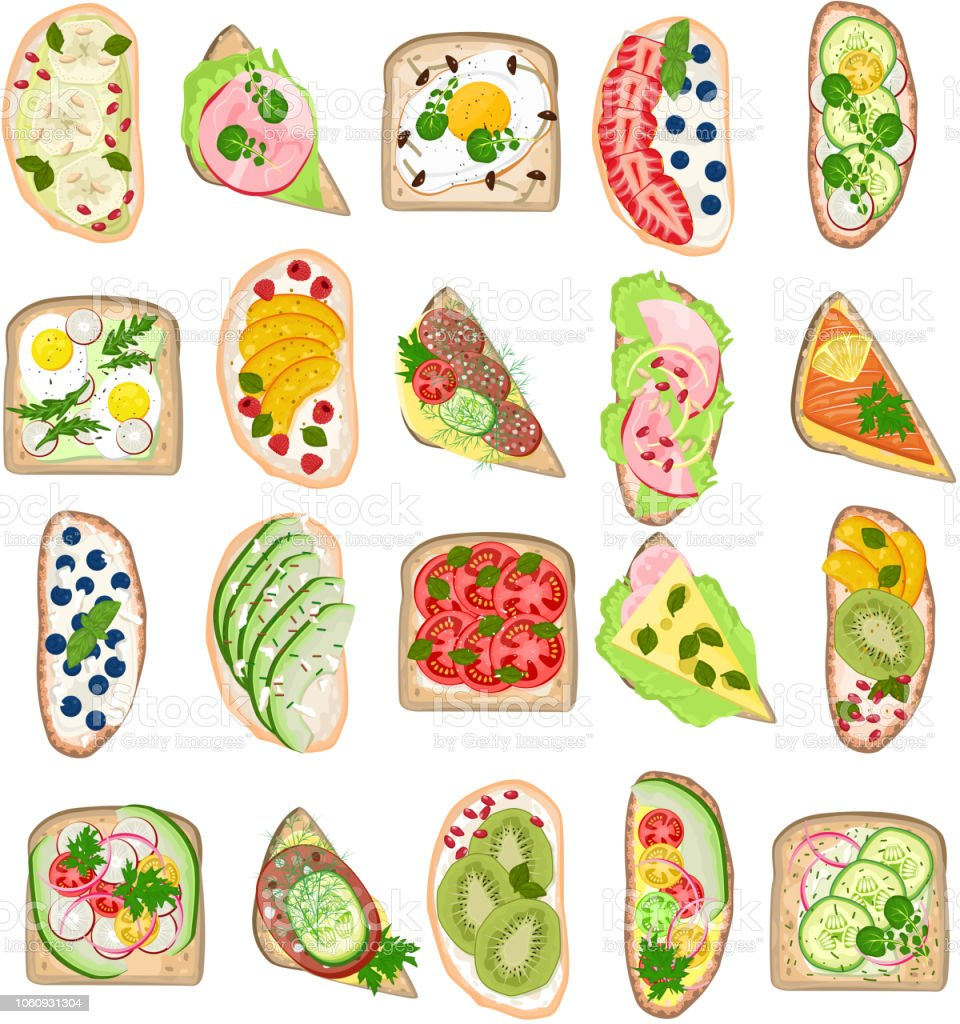 Toast vector healthy toasted food with bread cheese vegetables e vector art illustration