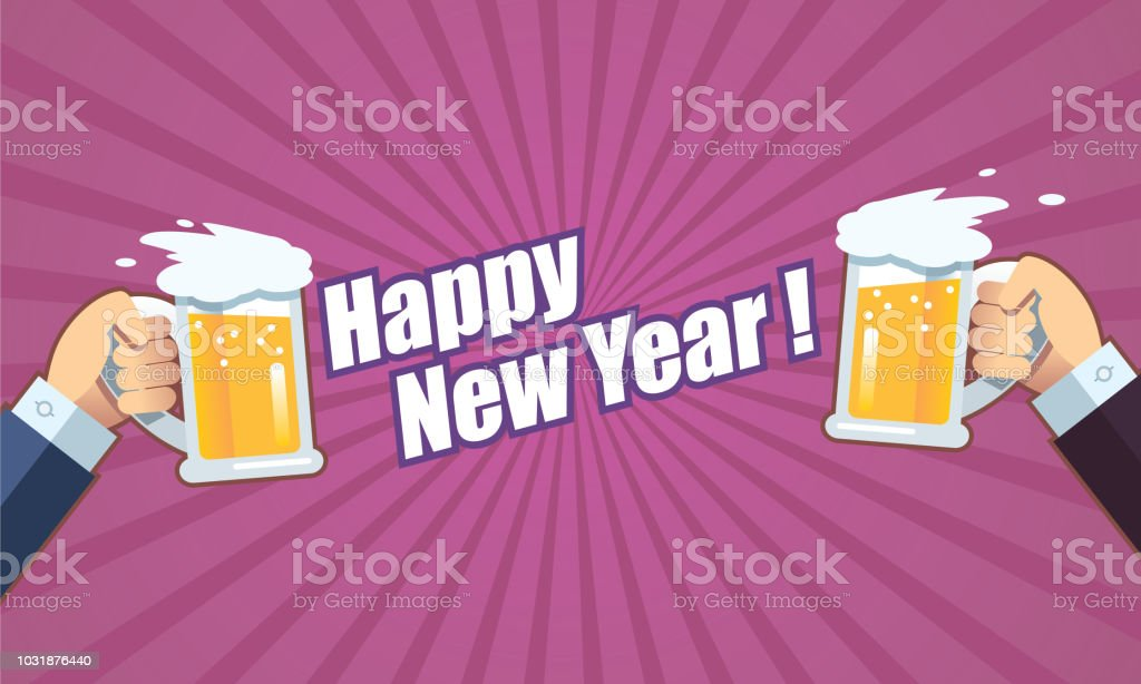 toast with beer happy new year royalty free toast with beer happy new year