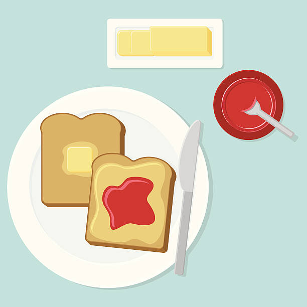 Toast with Butter and Jam vector art illustration