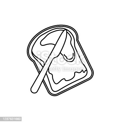 istock Toast With Jam Breakfast icon In Thin Line Style 1237631660
