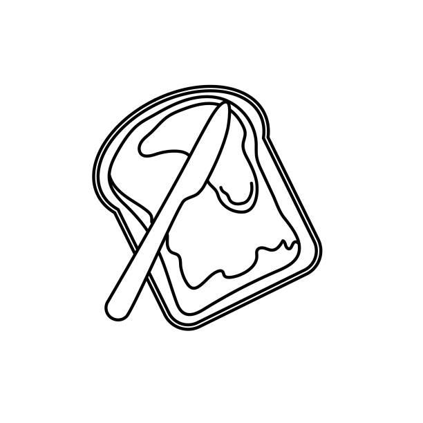 Toast With Jam Breakfast icon In Thin Line Style vector art illustration