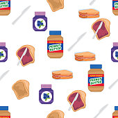 Toast With Jelly And Peanut Butter. Breakfast Foods Seamless Pattern.