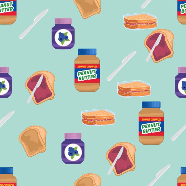 ilustrações de stock, clip art, desenhos animados e ícones de toast with jelly and peanut butter - jam jar