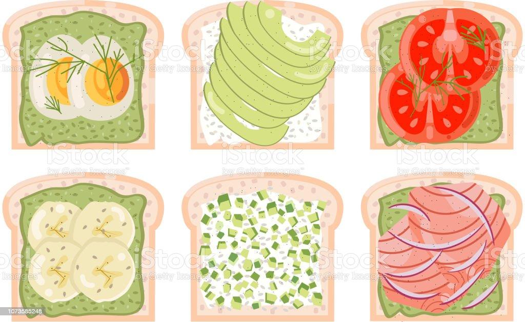 toasted bread avocado red fish egg banana tomato green healthy food diet flat design vector illustration vector art illustration