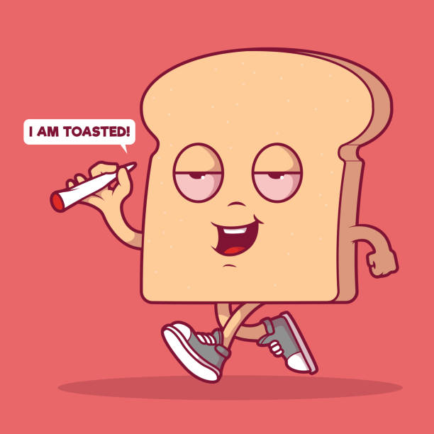 Toasted Bread walking down the street vector illustration. Weed, marijuana, medicinal marijuana, food, munchies design concept bread backgrounds stock illustrations