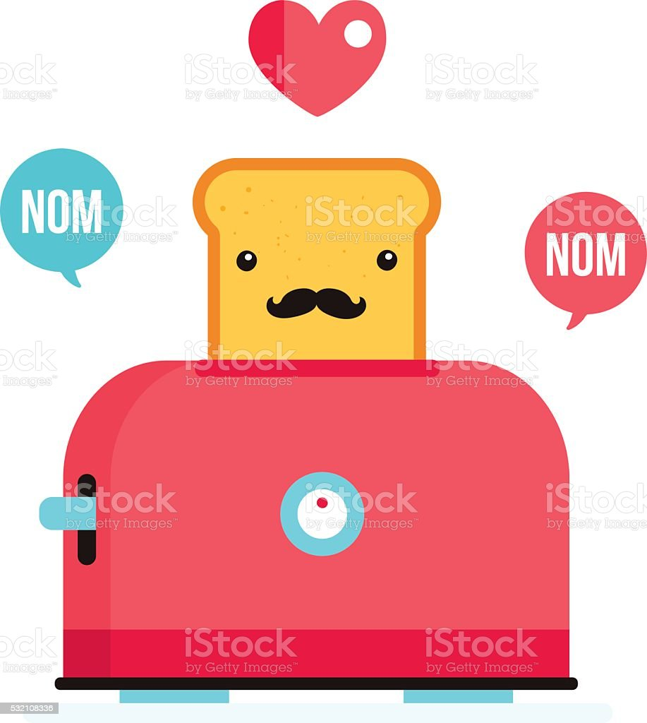 Toaster and funny hipster toasted bread with mustache Cartoon character vector art illustration
