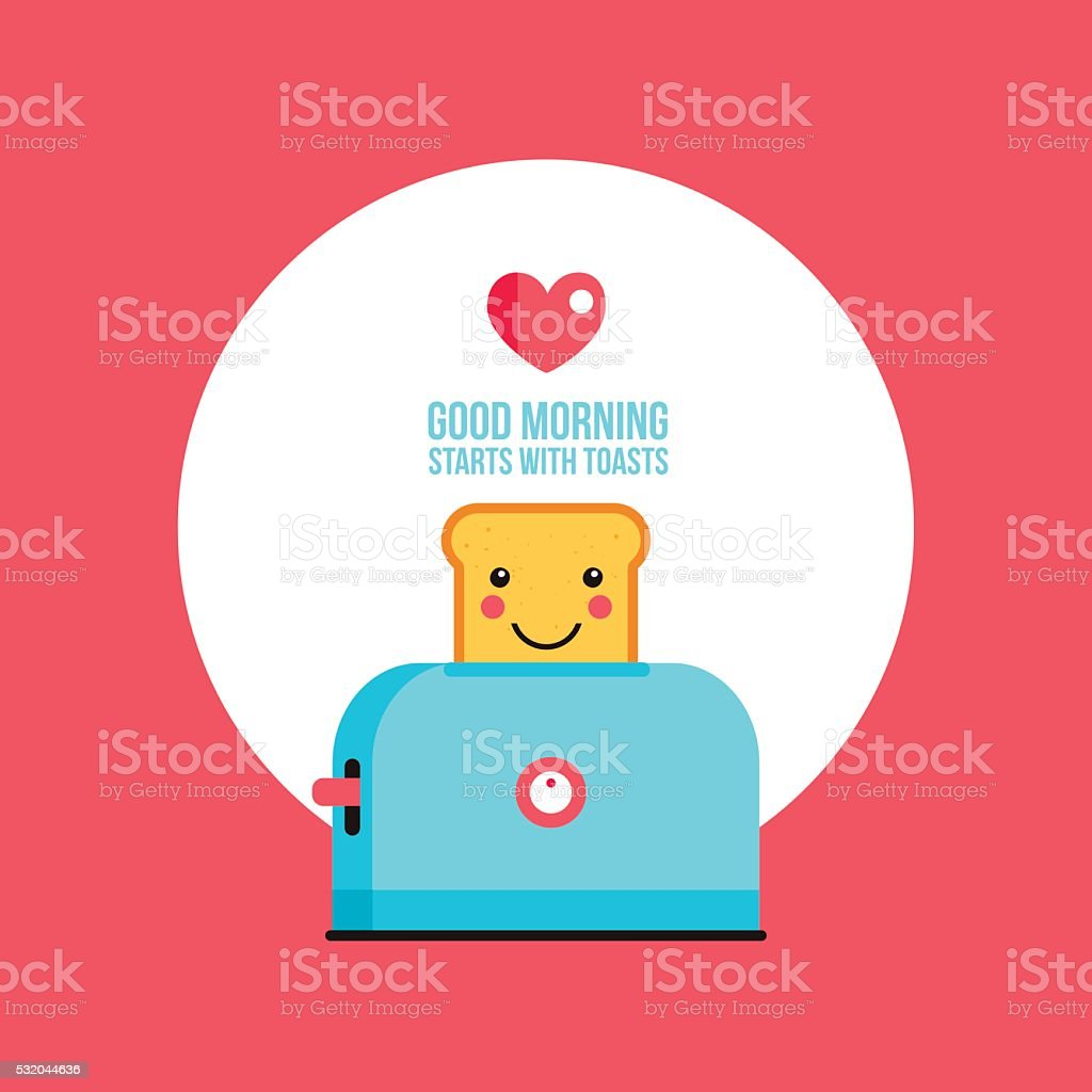 Toaster and funny toasted bread with cute smile Cartoon character vector art illustration