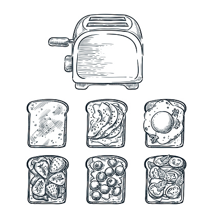 Toaster and various toppers on toasted bread. Cooking breakfast, vector sketch illustration. Brunch menu design elements