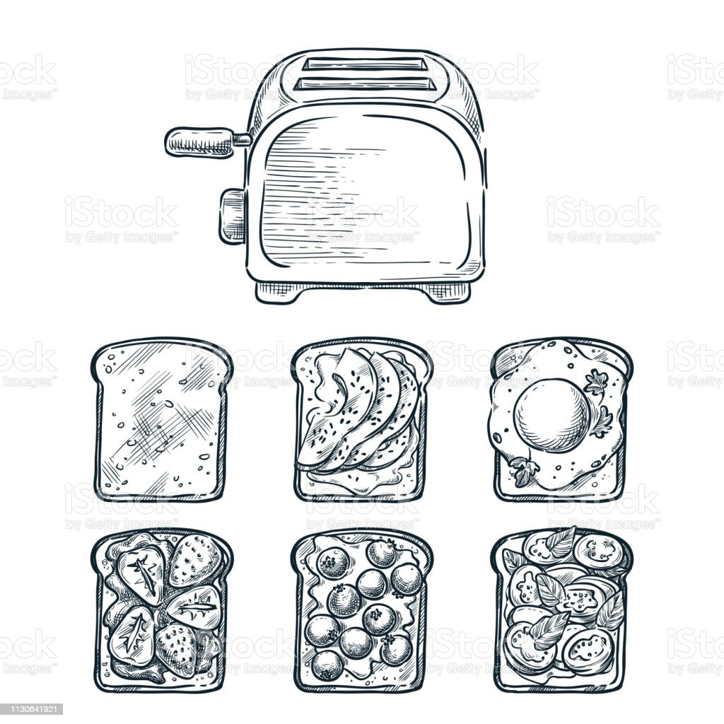 Toaster and various toppers on toasted bread. Cooking breakfast, vector sketch illustration. Brunch menu design elements vector art illustration
