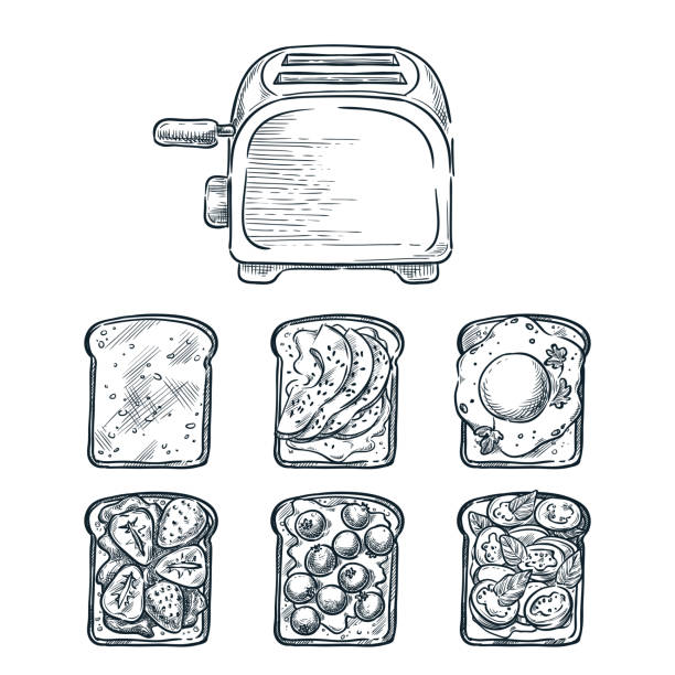 Toaster and various toppers on toasted bread. Cooking breakfast, vector sketch illustration. Brunch menu design elements Toaster and various toppers on toasted bread. Cooking breakfast, vector sketch illustration. Recipes and ingredients for delicious toast toppings. Restaurant or cafe brunch menu design elements. avocado drawings stock illustrations
