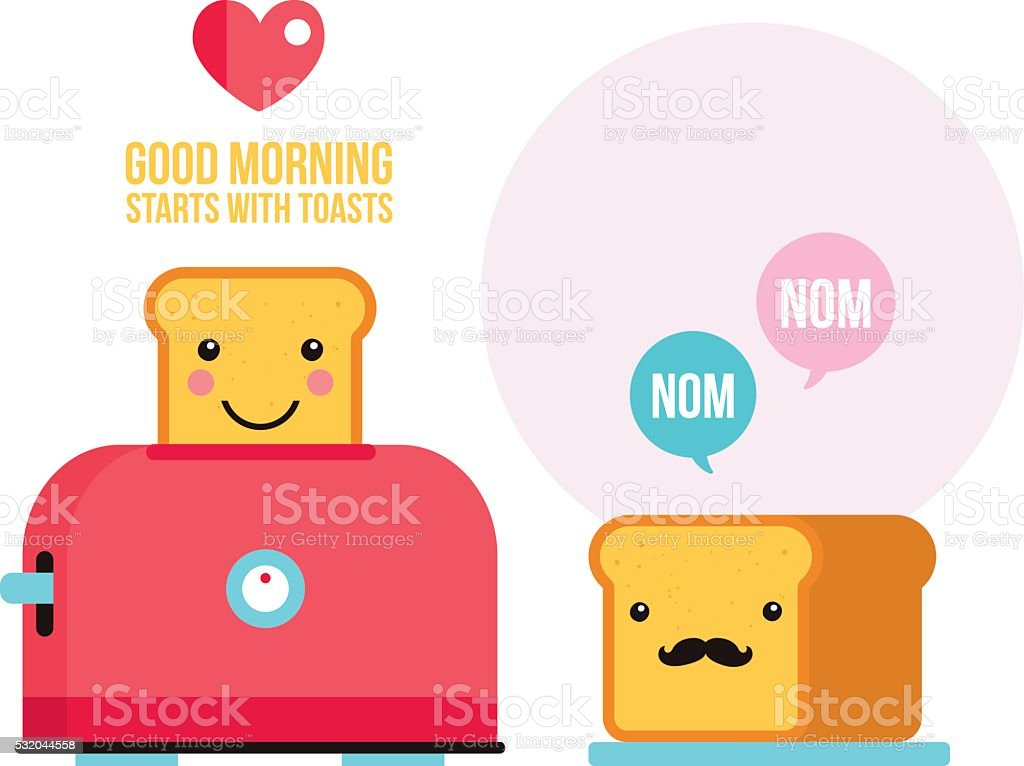 Toaster Funny hipster toasted bread loaf with mustache Cartoon character vector art illustration