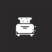 toaster icon. Filled toaster icon for website design and mobile, app development. toaster icon from filled breakfast collection isolated on black background.