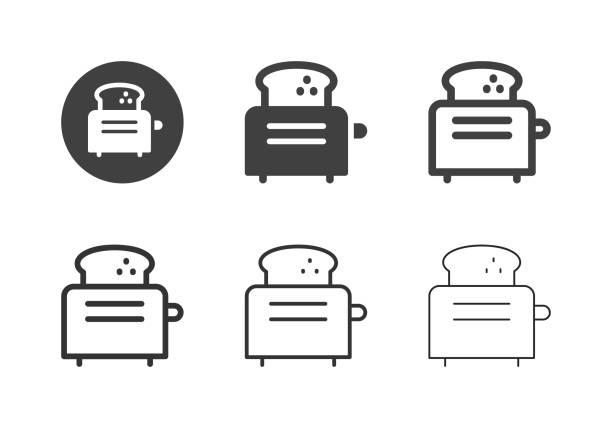 ilustrações de stock, clip art, desenhos animados e ícones de toaster icons - multi series - baking bread at home