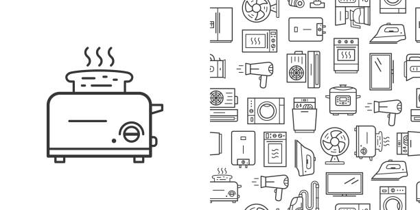 Toaster sign and vector seamless pattern with household appliances line style icons Toaster sign and vector seamless pattern with household appliances. Line style icons isolated on white background dishwashing machine stock illustrations