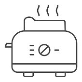 Toaster thin line icon, Kitchen equipment concept, electric toaster with toast sign on white background, Toaster with bread icon in outline style for mobile concept, web design. Vector graphics