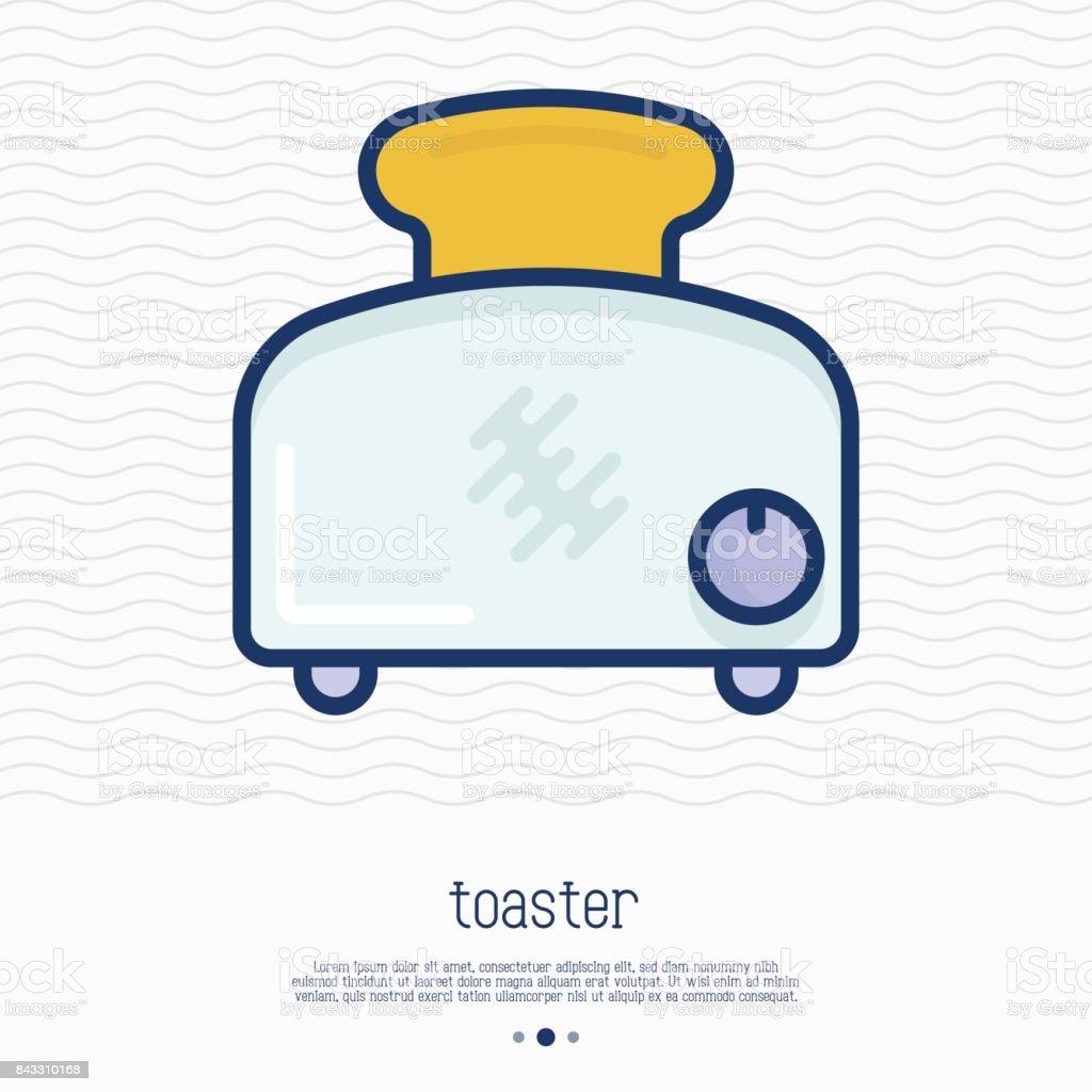Ícone de linha fina de torradeira. Ilustração em vetor simples de eletrodomésticos. - ilustração de arte em vetor