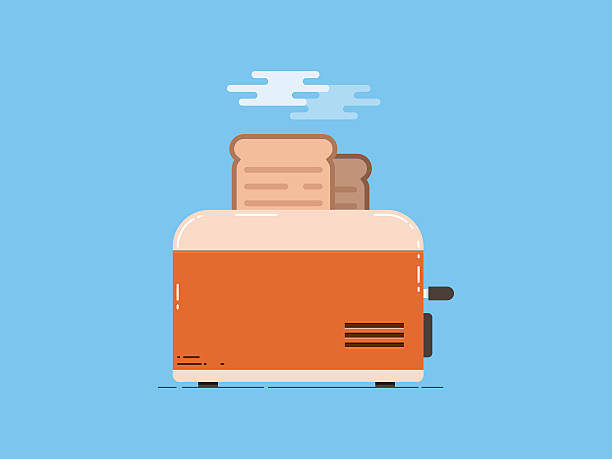 ilustrações de stock, clip art, desenhos animados e ícones de toaster with bread, flat design - burned cooking