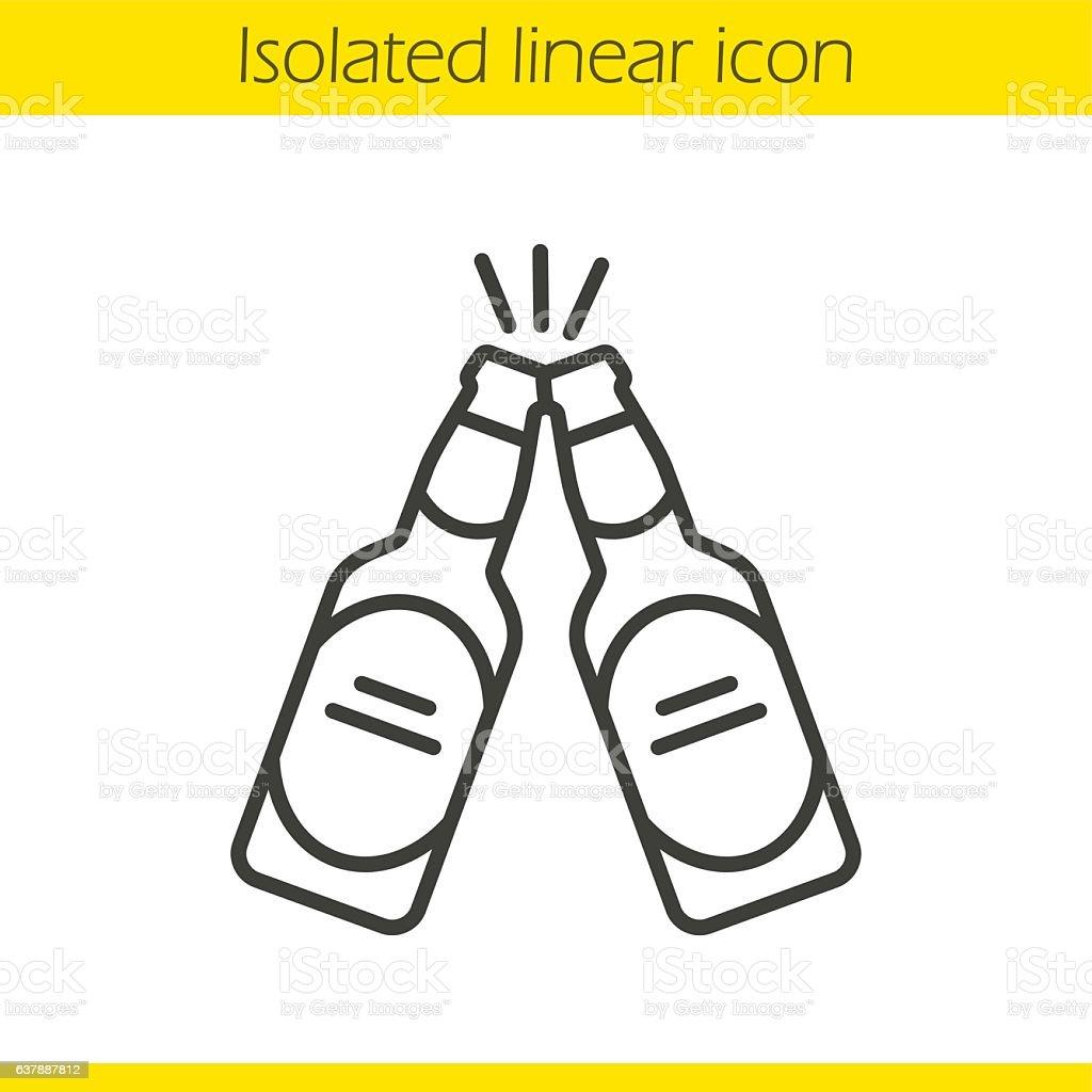 Toasting beer bottles icon vector art illustration