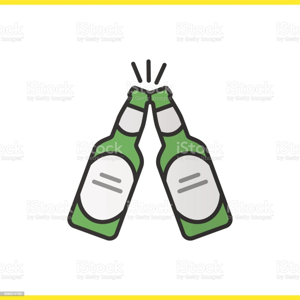 Toasting beer bottles icon - illustrazione arte vettoriale