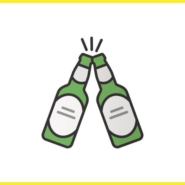 Toasten Bier-Flaschen-Symbol – Vektorgrafik