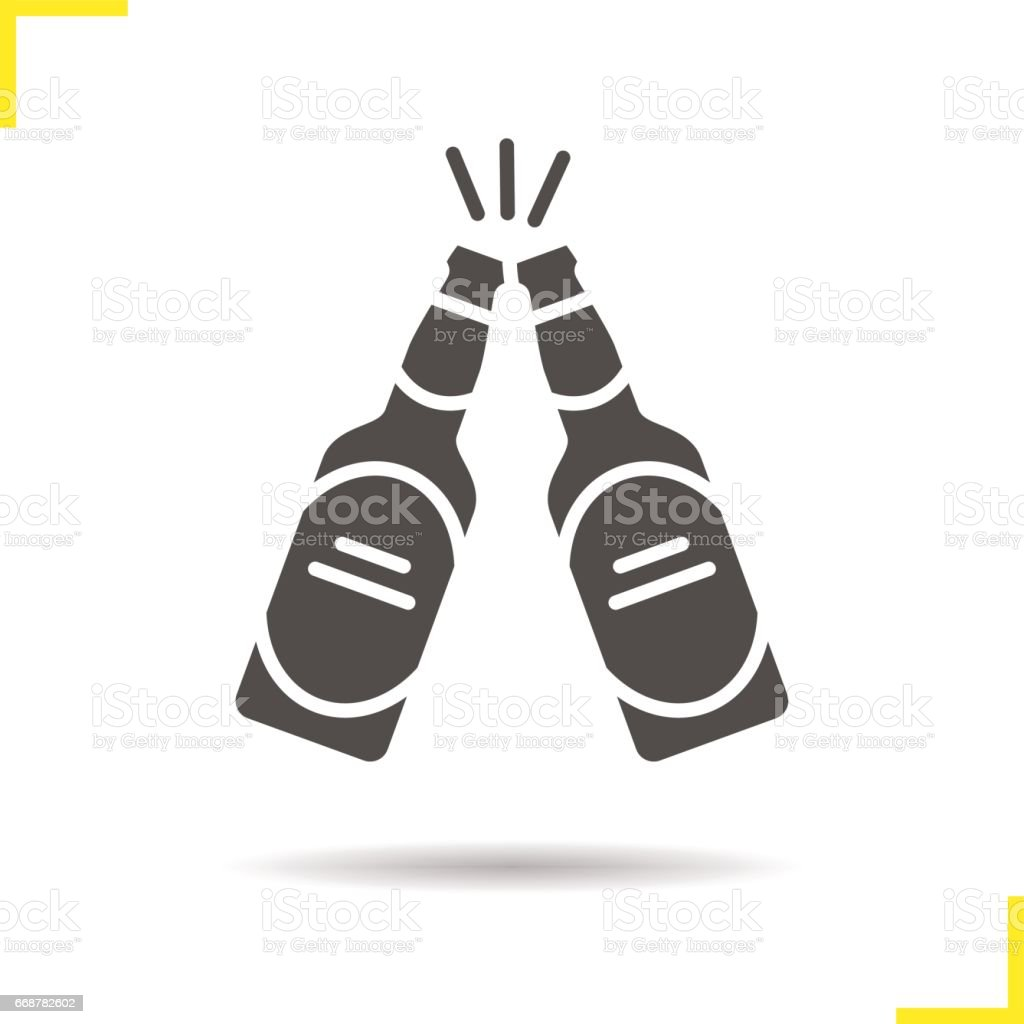 Toasting beer bottles icon vector art illustration