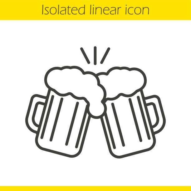 Toasting beer glasses icon Toasting beer glasses linear icon. Cheers. Two foamy beer mugs. Thin line. Vector beer glass stock illustrations
