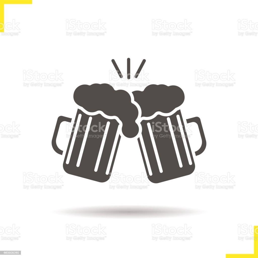ilustração de brindando o ícone de copos de cerveja e mais banco de