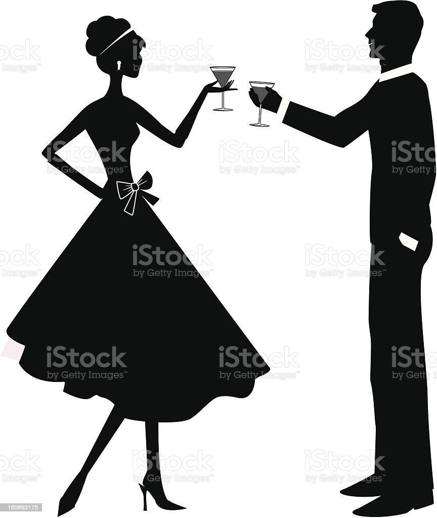 Toasting Couple vector art illustration