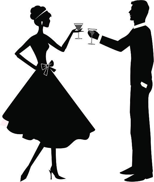 toasting couple - heather mcgrath stock illustrations